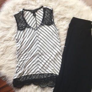 White House Black Market striped lace tank